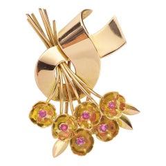 Retro Ribbon Bow Pink Sapphire 18 Carats Yellow Gold Brooch