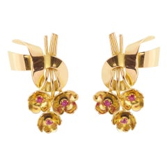 Retro Ribbon Bow Pink Sapphire 18 Carats Yellow Gold Earrings