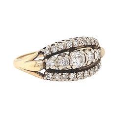 Retro Ring Diamond 14 Karat Gold Ring