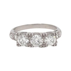 Retro Ring Diamond Platinum Three Stone Engagement Ring