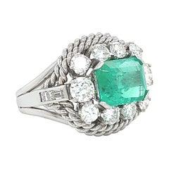 Retro Ring Emerald Diamond Platinum Cocktail Cluster Ring