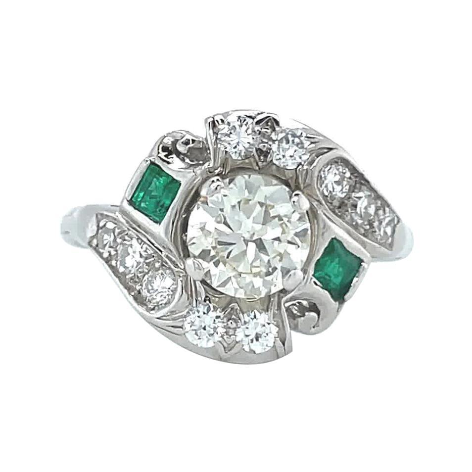 Retro Ring GIA Diamond 14 Karat White Gold Ring