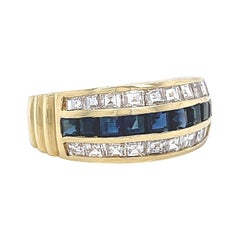 Retro Ring Sapphire Diamond 18 Karat Gold Ring