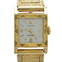 Retro Rolex Precision Yellow Gold Wristwatch