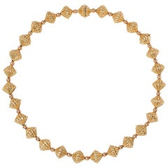 Retro Rose and Yellow Gold Fluted Bead Necklace