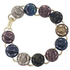 Retro Rose Flower Link Bracelet, Vintage, Gold Tone