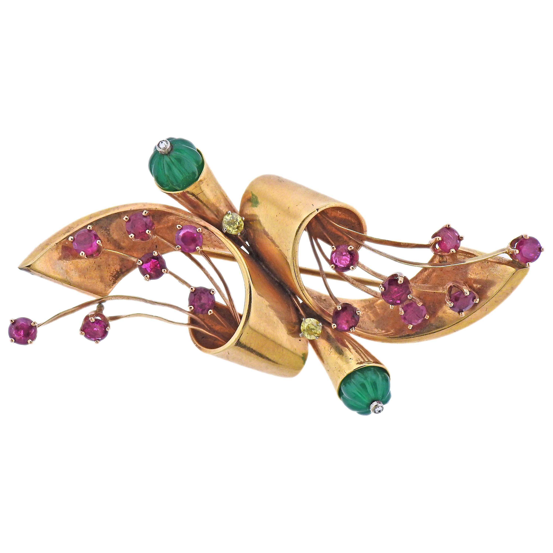 Retro Rose Gold Chrysoprase Diamond Ruby Brooch Pin