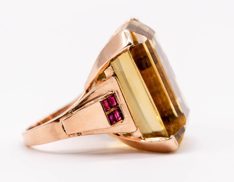 Retro Rose Gold Citrine Ruby Cocktail Ring For Sale 5