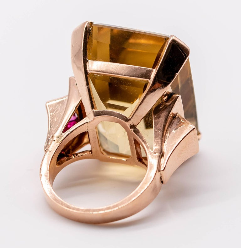 Retro Rose Gold Citrine Ruby Cocktail Ring For Sale 6