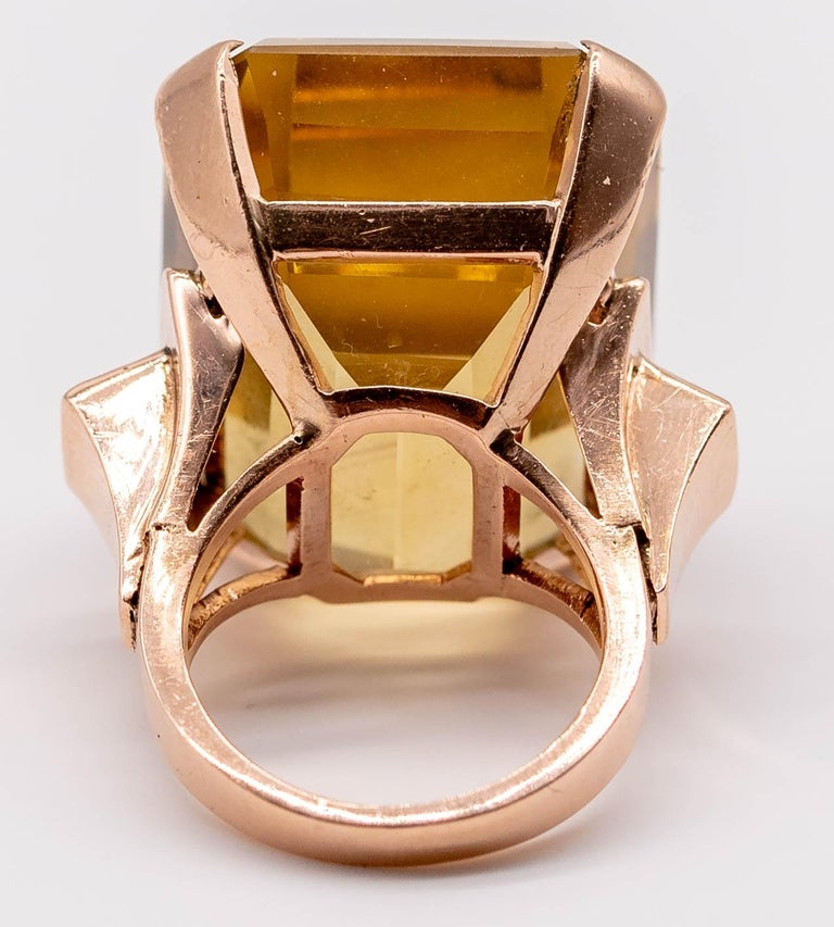 Retro Rose Gold Citrine Ruby Cocktail Ring For Sale 7