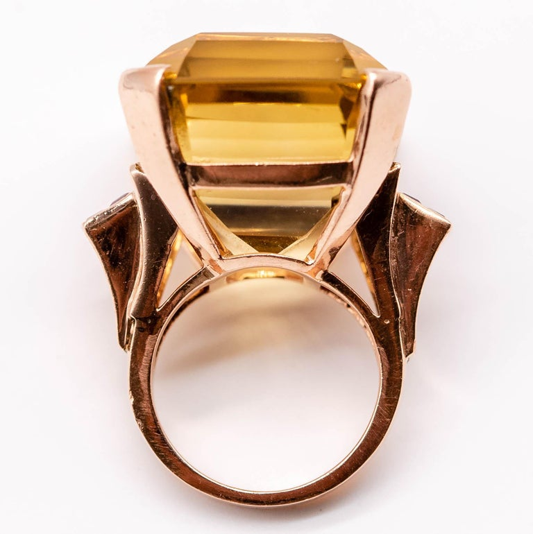 Retro Rose Gold Citrine Ruby Cocktail Ring For Sale 8