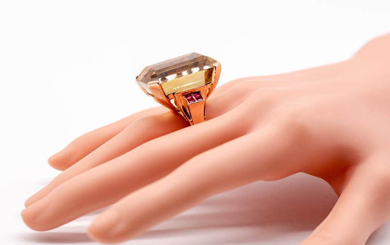 Emerald Cut Retro Rose Gold Citrine Ruby Cocktail Ring For Sale