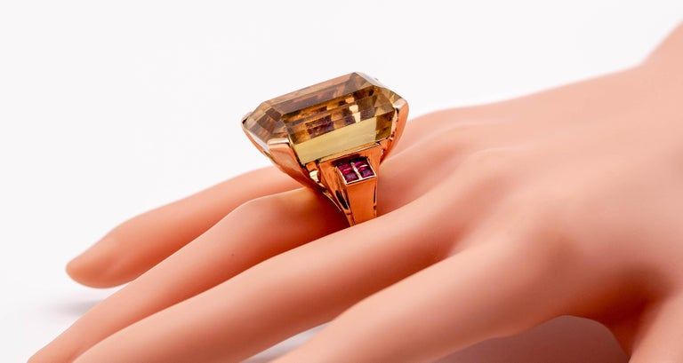 Retro Rose Gold Citrine Ruby Cocktail Ring In Fair Condition For Sale In New York, NY
