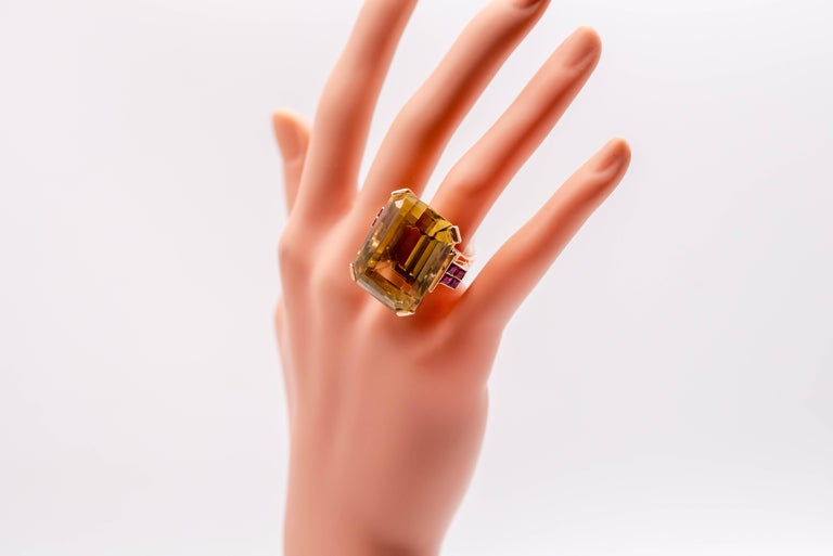 Women's or Men's Retro Rose Gold Citrine Ruby Cocktail Ring For Sale