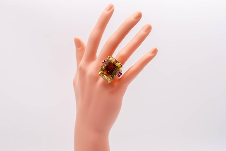 Retro Rose Gold Citrine Ruby Cocktail Ring For Sale 1