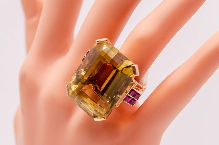 Retro Rose Gold Citrine Ruby Cocktail Ring For Sale 2