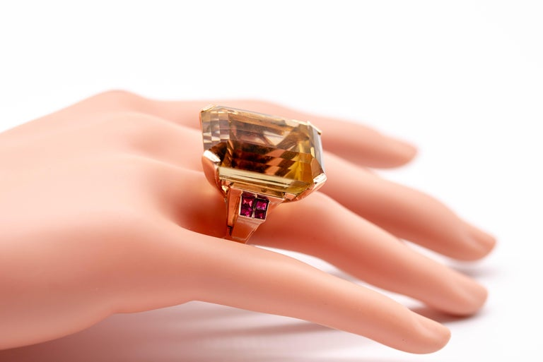 Retro Rose Gold Citrine Ruby Cocktail Ring For Sale 3