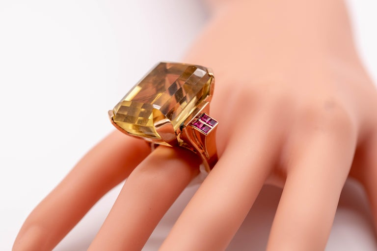 Retro Rose Gold Citrine Ruby Cocktail Ring For Sale 4