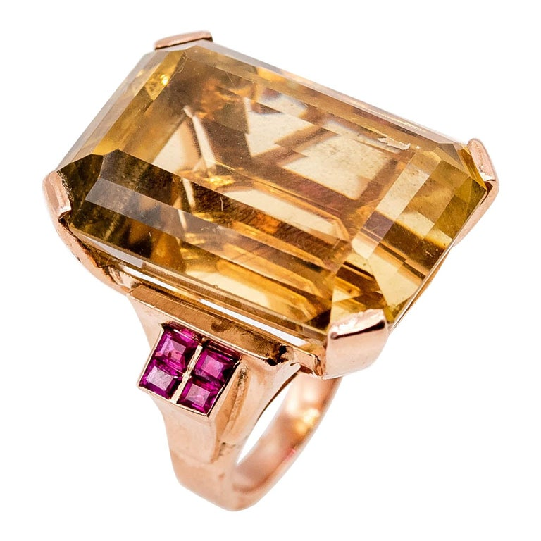 Retro Rose Gold Citrine Ruby Cocktail Ring For Sale