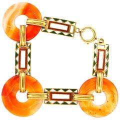 Retro Round Carnelian Enamel 14 Karat Gold Link Bracelet