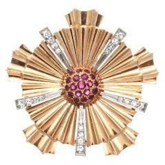 Retro Ruby 14 Karat Rose Gold Brooch