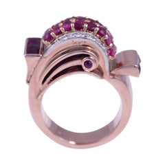 Retro Ruby and Diamond 14k Rose Gold Ring