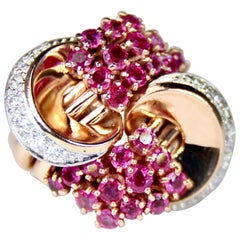 Retro Ruby and Diamond and Yellow Gold Ring