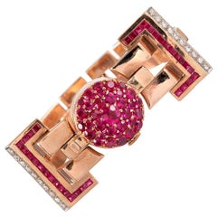 Retro Ruby and Diamond Bracelet with Concealed Watch