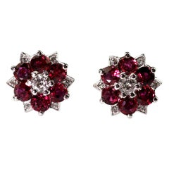 Retro Ruby and Diamond Cluster Earrings, 18 Carat White Gold, Pin and Push On