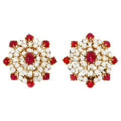 Retro Ruby and Diamond Earclips, 1950s