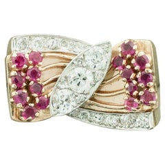 Retro Ruby and Diamond Ring Circa 1940's in 18k Rose Gold