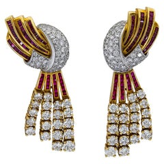 Retro Ruby and Diamond Rose Gold Clip-On Earrings