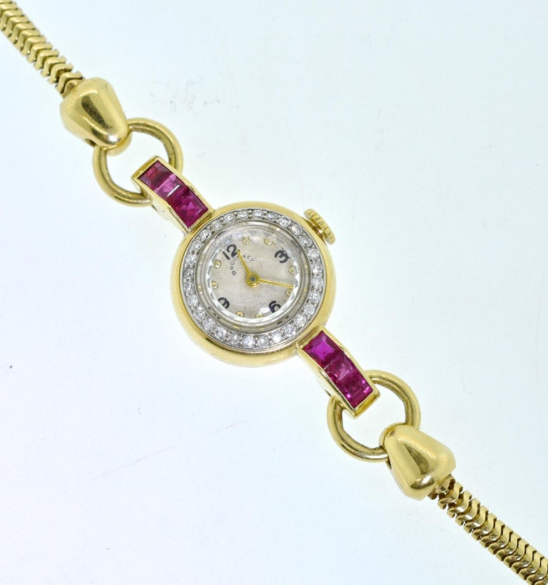 Women's or Men's Retro Ruby and Diamond Wristwatch, circa 1950 For Sale
