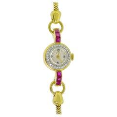 Retro Ruby and Diamond Wristwatch, circa 1950