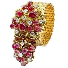 Retro Ruby and Diamond Yellow Gold Slide Bracelet