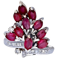 Retro, Ruby and Diamond 3.08 Carat Cluster, 14 Karat and Pigeon Blood, Quality