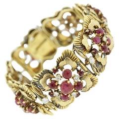 Retro Ruby Diamond Gold Floral Bracelet