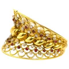 Retro Ruby Diamond Gold French Bangle Bracelet