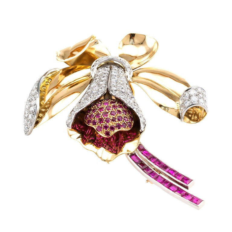 Women's or Men's Retro Ruby Diamond Gold Platinum Orchid Brooch For Sale