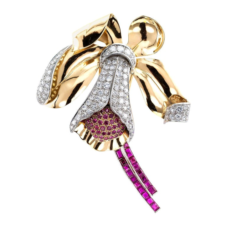 Retro Ruby Diamond Gold Platinum Orchid Brooch For Sale
