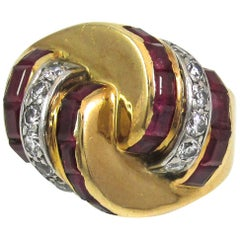 Retro Ruby Diamond Gold Platinum Ring