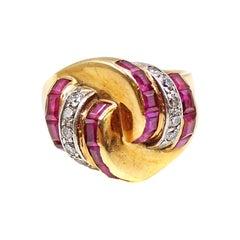 Retro Ruby Diamond Gold Platinum Ring