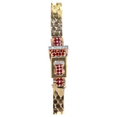 Retro Ruby Diamond Rose and Yellow Gold Flip Top Covered Watch
