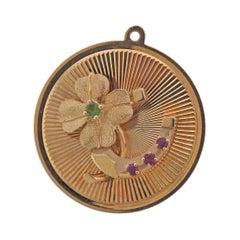 Retro Ruby Peridot Clover Flower Gold Pendant Charm