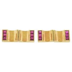 Retro Ruby Rose Gold Cufflinks