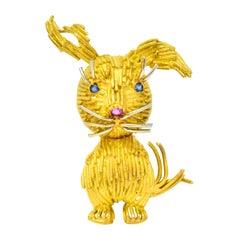 Retro Ruby Sapphire 18 Karat Two-Tone Gold Italian Bunny Brooch