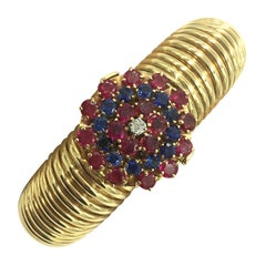 Retro Ruby Sapphire Diamond and Gold Tubogas Bracelet