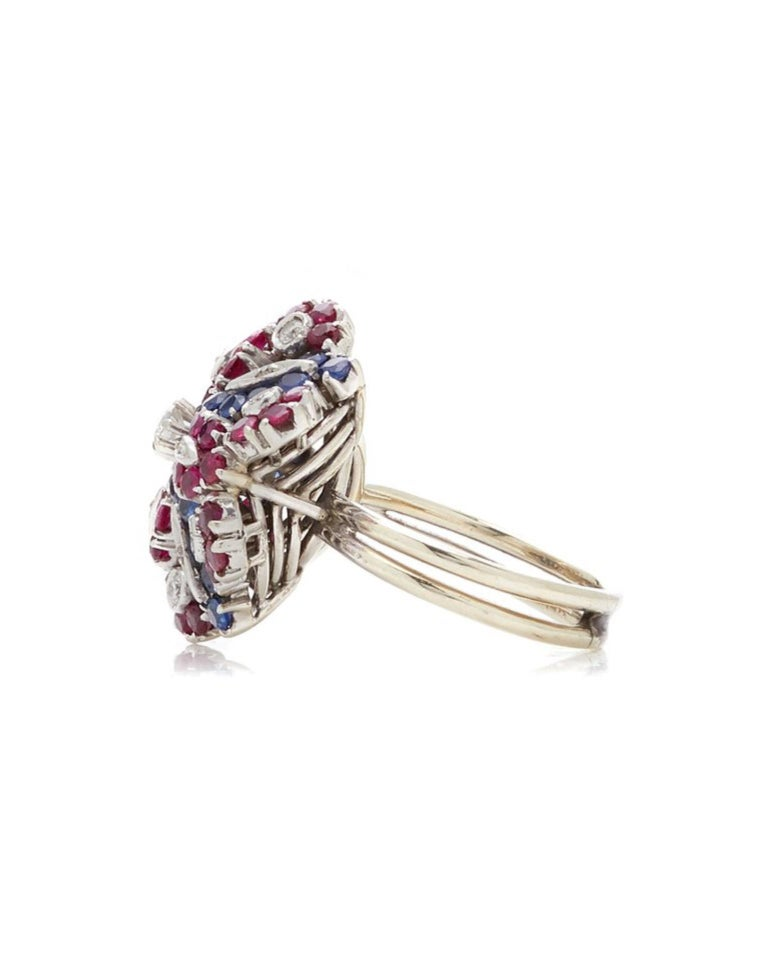 Retro Ruby, Sapphire, Diamond Flower Ring In Good Condition For Sale In New York, NY