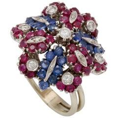 Retro Ruby, Sapphire, Diamond Flower Ring
