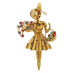 Retro Ruby Sapphire Diamond Gold Lady with Basket Brooch